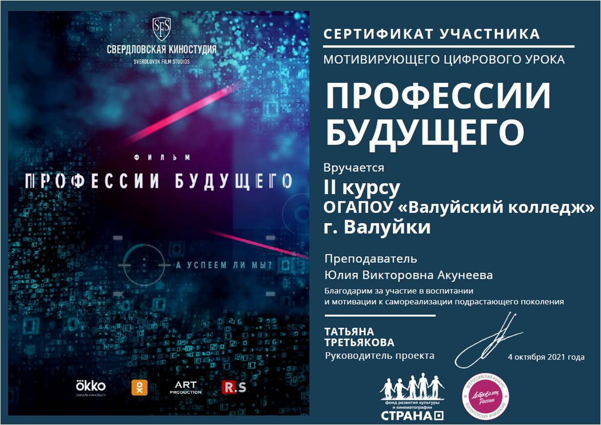 """Сертификат участника """"Профессии будущего"""""""